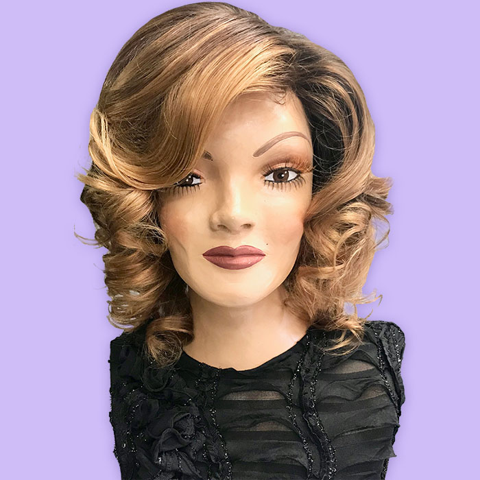 Custom Wig Dark Roots with Golden Browns & Golden and Light Blondes