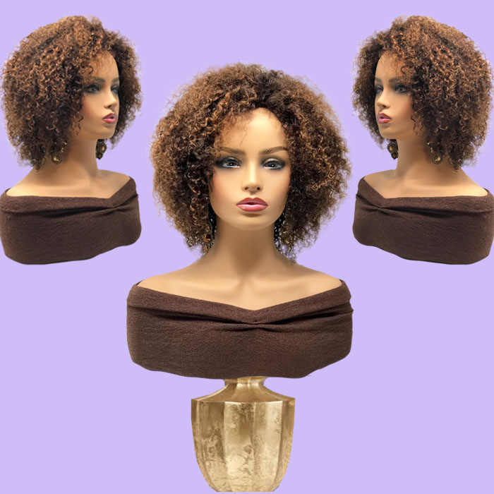 Light Brown Short Kinky Curly Hair System
