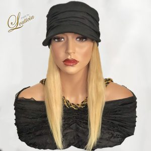 Black Hat With Straight Blonde Hair Attached