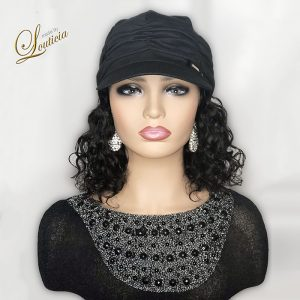 Black Hat With Wavy Black Hair Attached