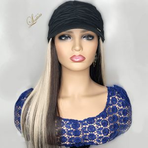 Black Hat With Blonde & Brown Hair Attached