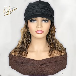 Black Hat With Mixed Color Straight Hair Attached