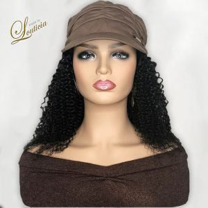 Brown Hat With Black Kinky Curly Hair Attached