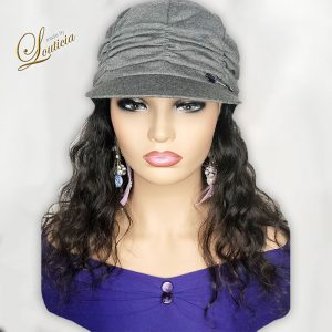 Gray Hat With Black Wavy Hair Attached