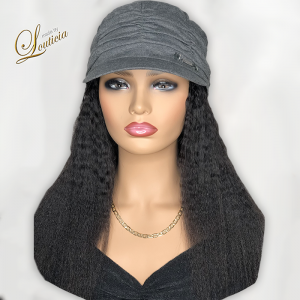 Gray Hat With Black Textured Hair Attached