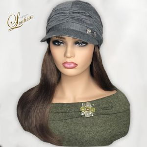 Gray Hat With Tricolor Hair Attached