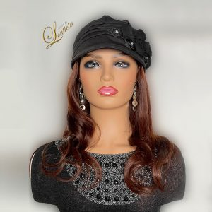"""Black Hat With Straight 16"""" Indian Copper Hair Attached"""