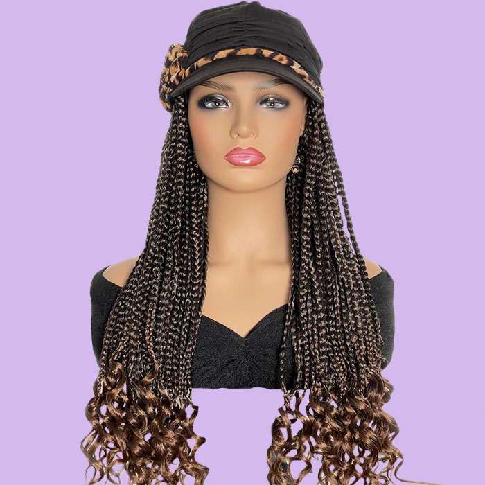 """Fancy Hat with 20"""" Ombre Braids Attached"""
