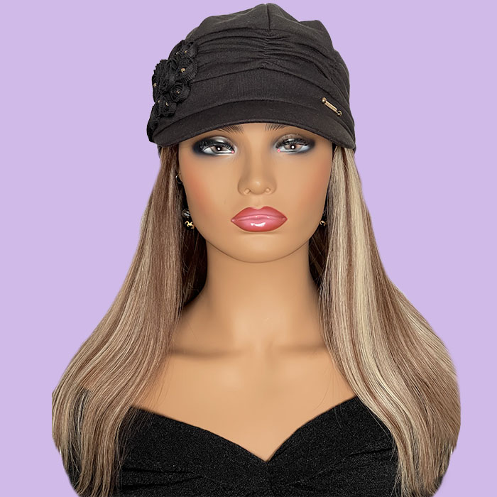 """Black Hat with Straight Blonde 16"""" Hair Attached"""