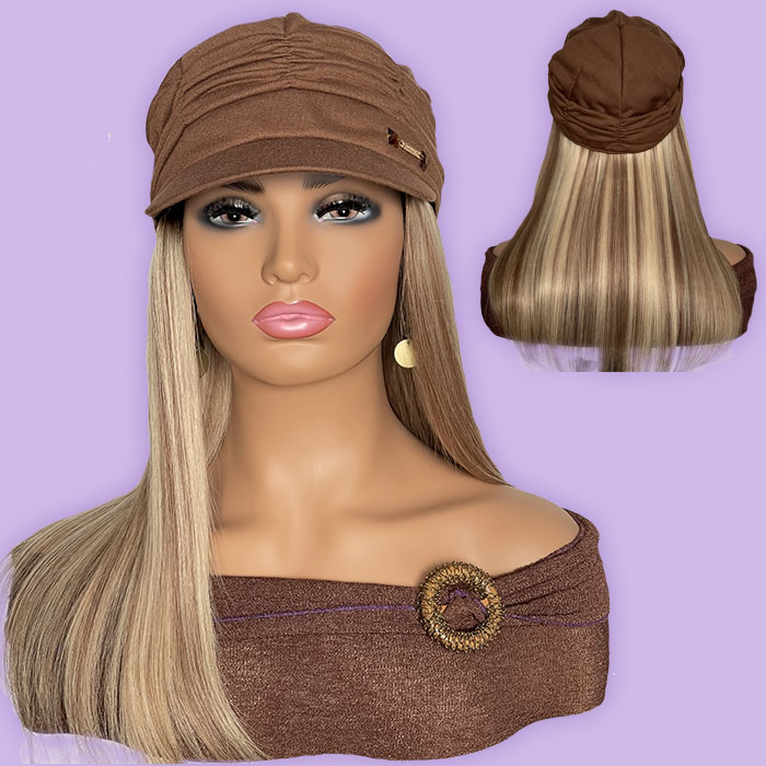 """Women's Tan Hat with 16"""" Straight Blonde Hair Attached"""