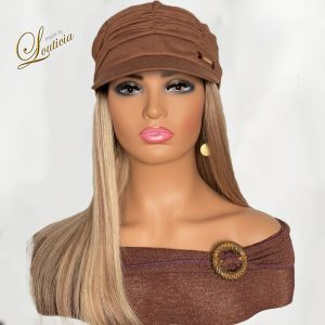 """Stylish Chemo Hats For Cancer Patients with 16"""" Straight Blonde Hair Attached"""