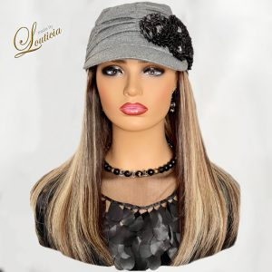 """Chic Chemotherapy Hat with 16"""" Straight Hair Attached"""