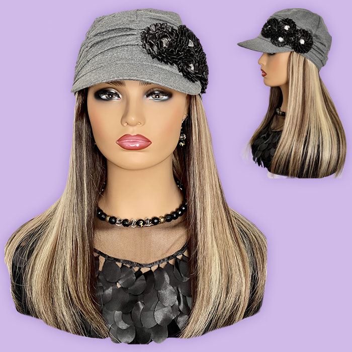 """Women's Chic Gray Hat with 16"""" Straight Blonde Hair Attached"""